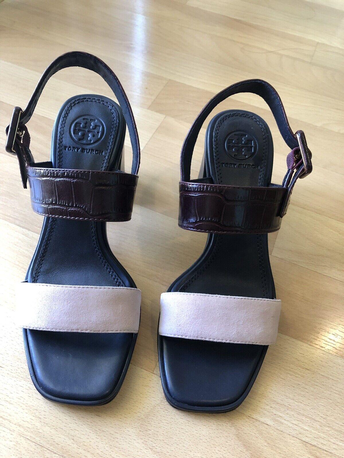 New Tory Burch Delaney Women's Sz 5.5M Pink Malbec Leather Heel Sandals