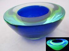 Tazón de fuente de bloques Geode de Murano Sommerso Arte Vidrio 3 Color Azul Zafiro & UV 50s