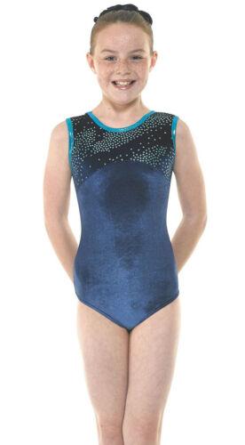 Velvet//Sparkly Foil Girls Gymnastics Sleeveless Leotard Gym Dancewear Age 4-12