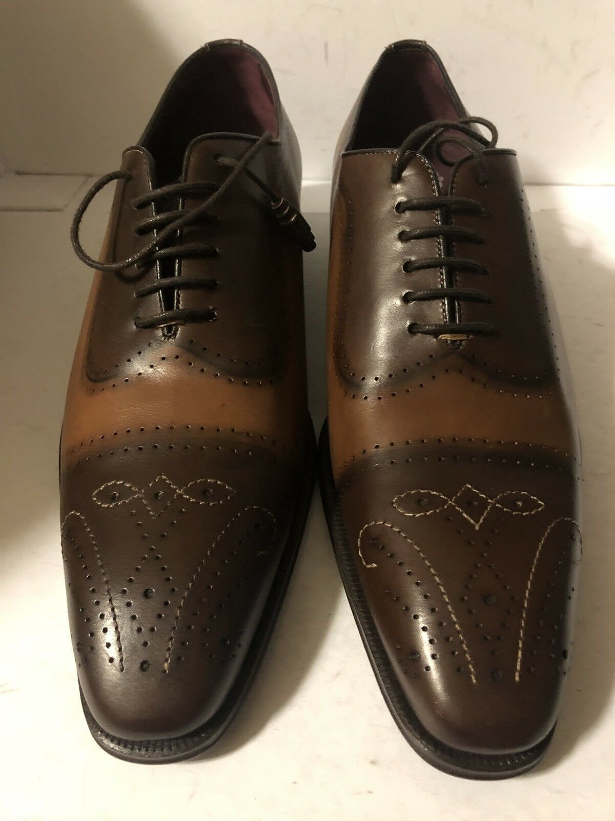 Men's Mezlan Serrano Leather Brogue Oxford scarpe Sz 10  595
