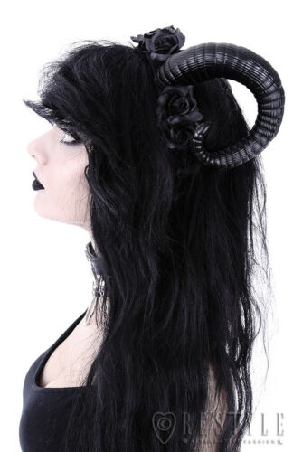 Restyle Luxury Black Floral Flower Horn Headband Headpiece for Gothic Punk Women