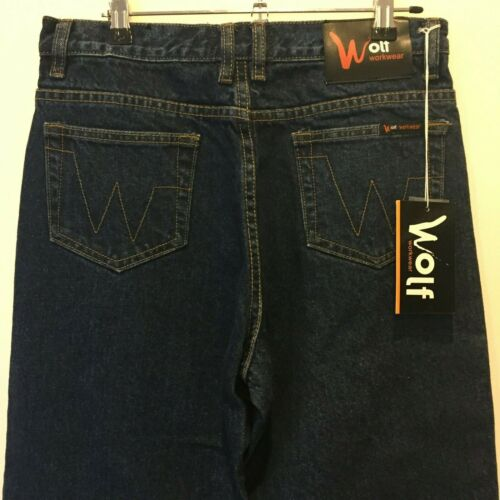 Brand New with Tags Wolf Workwear Mens Blue Jeans W39 L31 RRP $59.95
