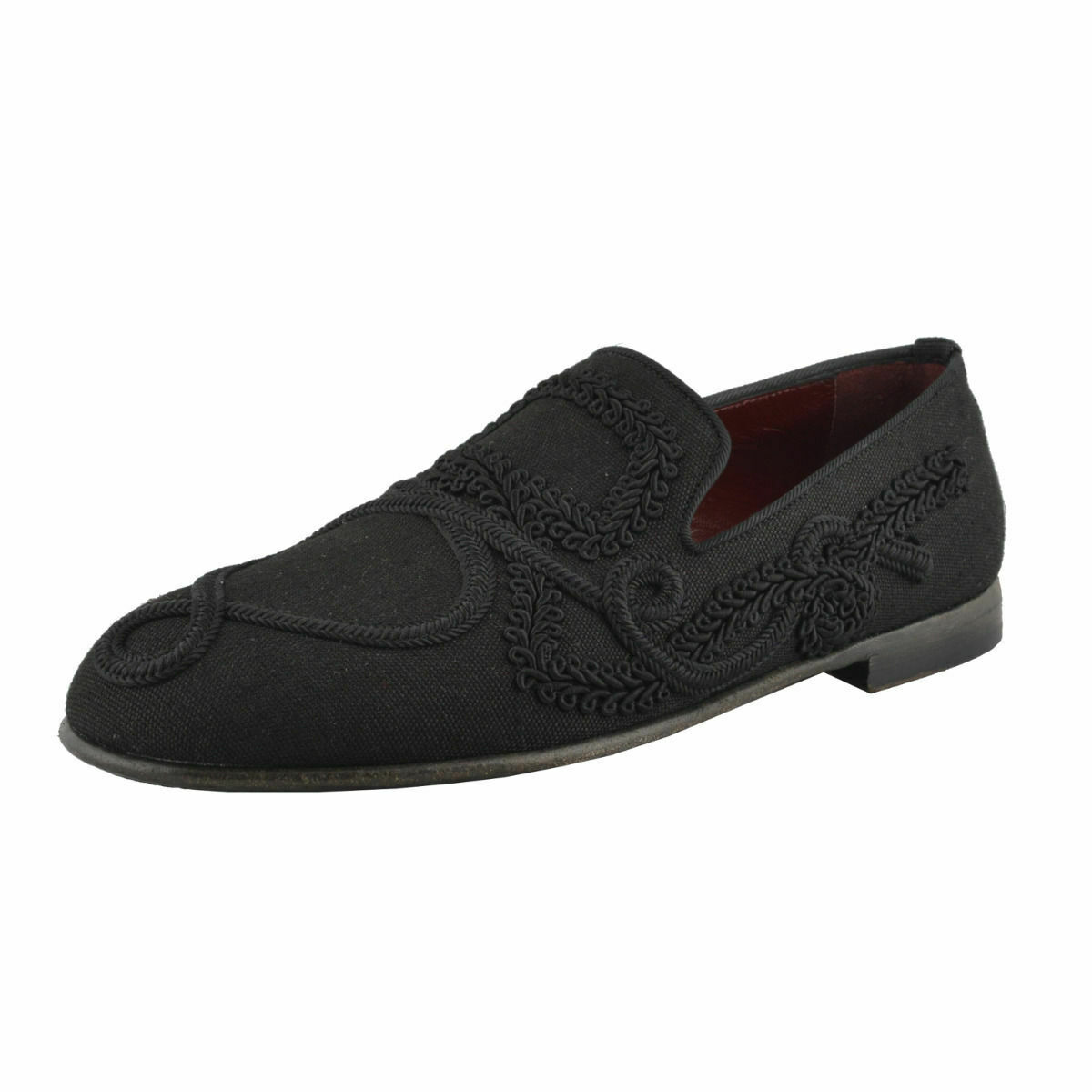 Dolce & Gabbana Linen Leather Loafers Slip On Shoes Sz 6.5 8.5