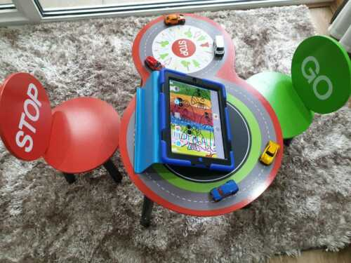 Children Racing Car Table /& Chairs for Kids Stop Go kids boys study play desk