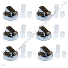 6 X Universal Hotpoint, Electrolux Chrome Cooker Oven Hob Control Knob Silver