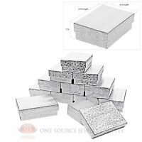 12 Silver Foil Cotton Filled Jewelry Gift Boxes Pendant Charm Box 3 1/4 X 2 1/4