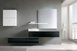 Mobile bagno arredo bagno completo pensile nero 180cm lavabo