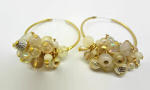 Cute-Gold-Plated-Bead-Cluster-Hoop-Earrings