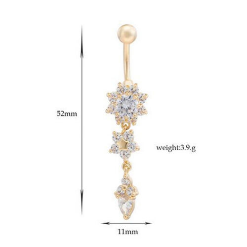 Beauty Crystal Flower Dangle Navel Belly Button Ring Body Piercing Jewelry B9