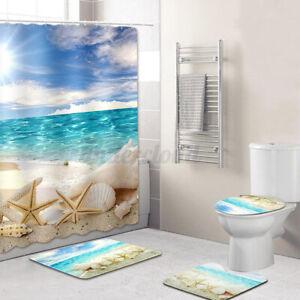 4PC-Set-Anti-Slip-Bathroom-Toilet-Rug-Lid-Toilet-Covers-Bath-Mat-Shower-Curtains