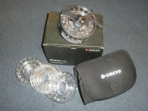 Greys QRS 9/10 11/12 Fliegenspule inkl. 4 Spulen+Neoprene Tasche Angelzubehör