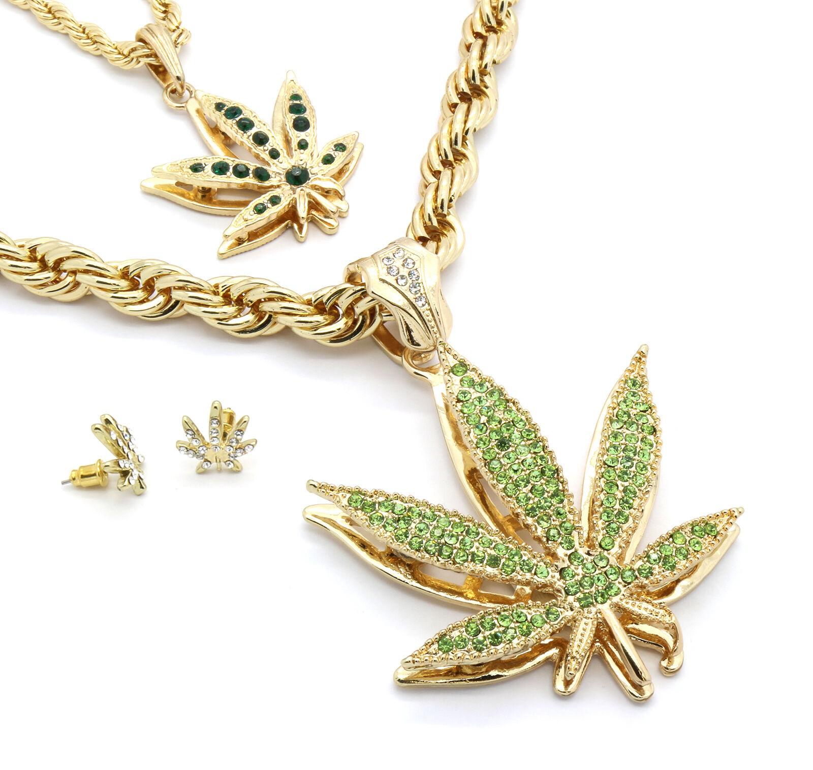 Mens 14k gold Plated Green Marijuana Pendants & Earrings Bundle W  2 Rope Chains