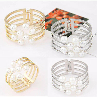 Women New Fashion Wide Statement Hollow Pearl Punk Club Casual Bangle Bracelet B