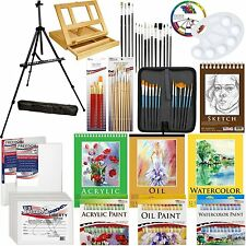 133pc Deluxe Artist Painting Set Aluminum Easel, Wood Table Easel, Paint, Canvas