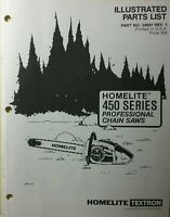 Homelite 450 Series Professional Chain Saw Parts Manual 12pg Chainsaw Pro Saws