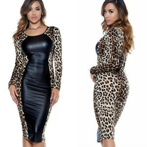 74b637fb8e Free postage. Image is loading Sexy-Women-Faux-Leather-Leopard-Print -Patchwork-Bodycon-