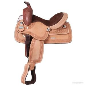 14 Inch Youth Western Harris Trail Saddle - Roughout Leather - Suede