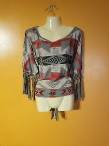 CLEARANCE Women/'s Multicolor Cropped Top with a Southwest Aztec Print S-XL