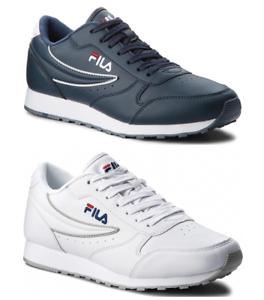 Detalles de Zapatos Fila Orbit Hombre Zapatillas Piel Blanco Azul Deportivo Casual Vida Moda