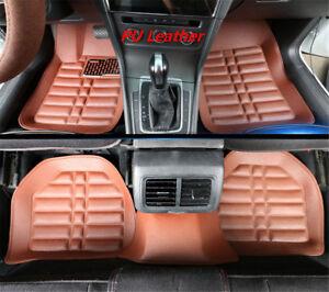 5-Pcs-Braun-Leder-Vorne-Hinten-Auto-Fussmatten-Bei-jedem-Wetter-Set-Autozubehoer
