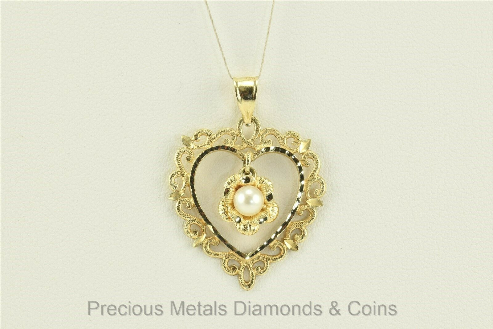 14k Yellow gold 25mm x 22mm Dangling 4mm Pearl Scrolled Heart Pendant