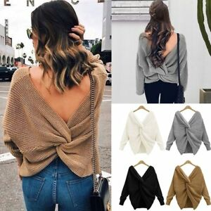Posh Women Long Sleeve V Neck Knitwear Top Casual Cross Pullover ...
