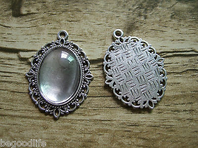 25 Sets Antique Silver Oval Cameo Setting Pendant Trays 18x25mm Glass Covers New