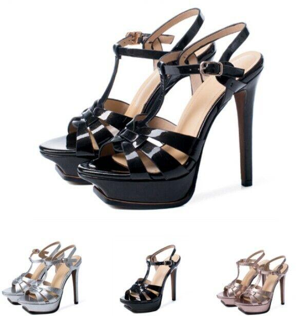 Chaussures femmes Bout Ouvert Stiletto Escarpins Sandales T-Courroie Boucle SUPER HIGH HEEL