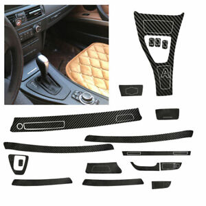 5D Interior Glossy Carbon Fiber Wrap Trim Decal For BMW 3 Series E90 05-13