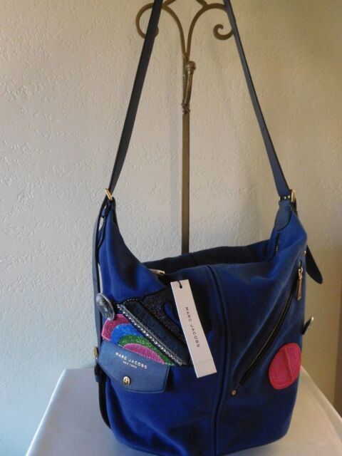 1726727b4414 Marc Jacobs Convertible Sling Backpack Blue Canvas Cross Body Bag Retail