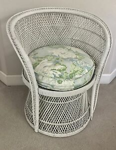 Vintage White Buri Peacock Wicker Chair Shabby Chic Cottage Rattan