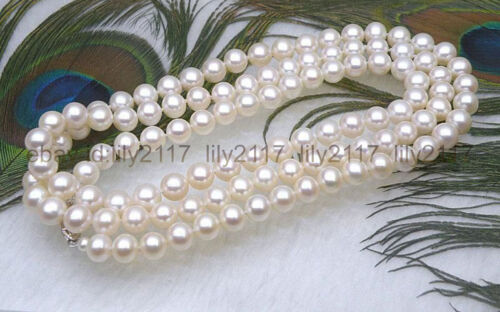 "AAAA+Gorgeous 9.5-10mm round white akoya pearl necklace 50/"" 14k white gold clasp"