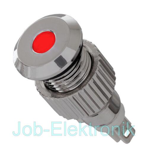 12V LED Signalleuchte IP67 rot mit 8mm Metallfassung Signallampe  Meldeleuchte