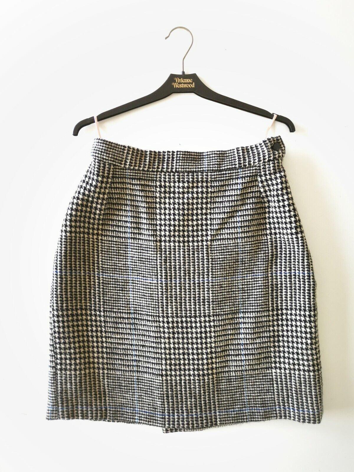 Vivienne Westträ guld Label Plaid Wool Tkonstan Pencil kjol 90s Storlek 14