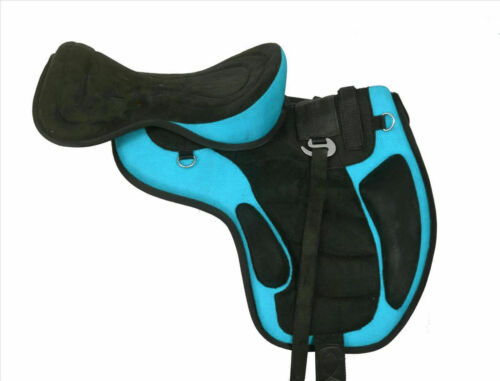 All Purpose Freemax Synthetic Suede Turquoise Saddle Matching Girth with Stirrup