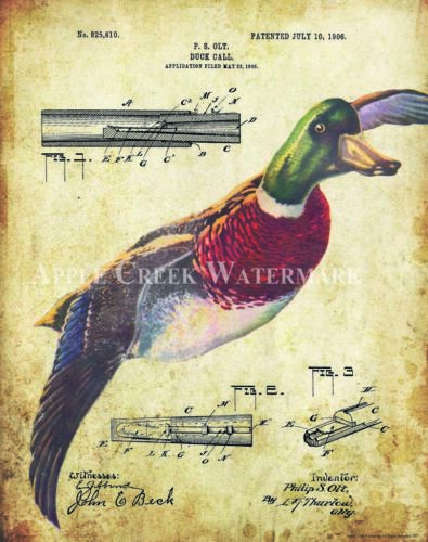 Duck Hunting Call Patent Print Vintage Mallard Wood Decoys Cabin Wall Art Decor