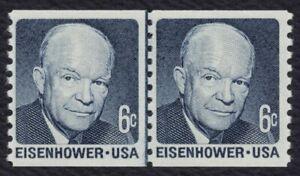#1401 6c Eisenhower, Bobina Línea Par [2 ], Nuevo Cualquier 5=