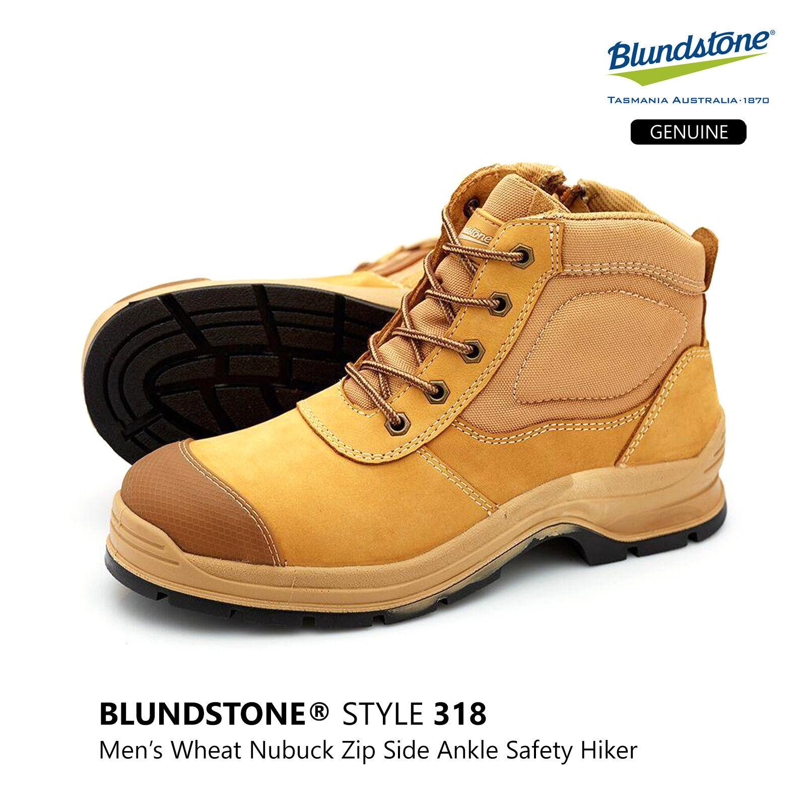 azulndstone 318 Wheat Nubuck Leather Steel Cap Side Zip Safety Hiker bota