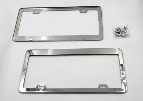 2XChrome Licence Plate Frames Holder Front/&Rear Tag Cover With Screws For Honda