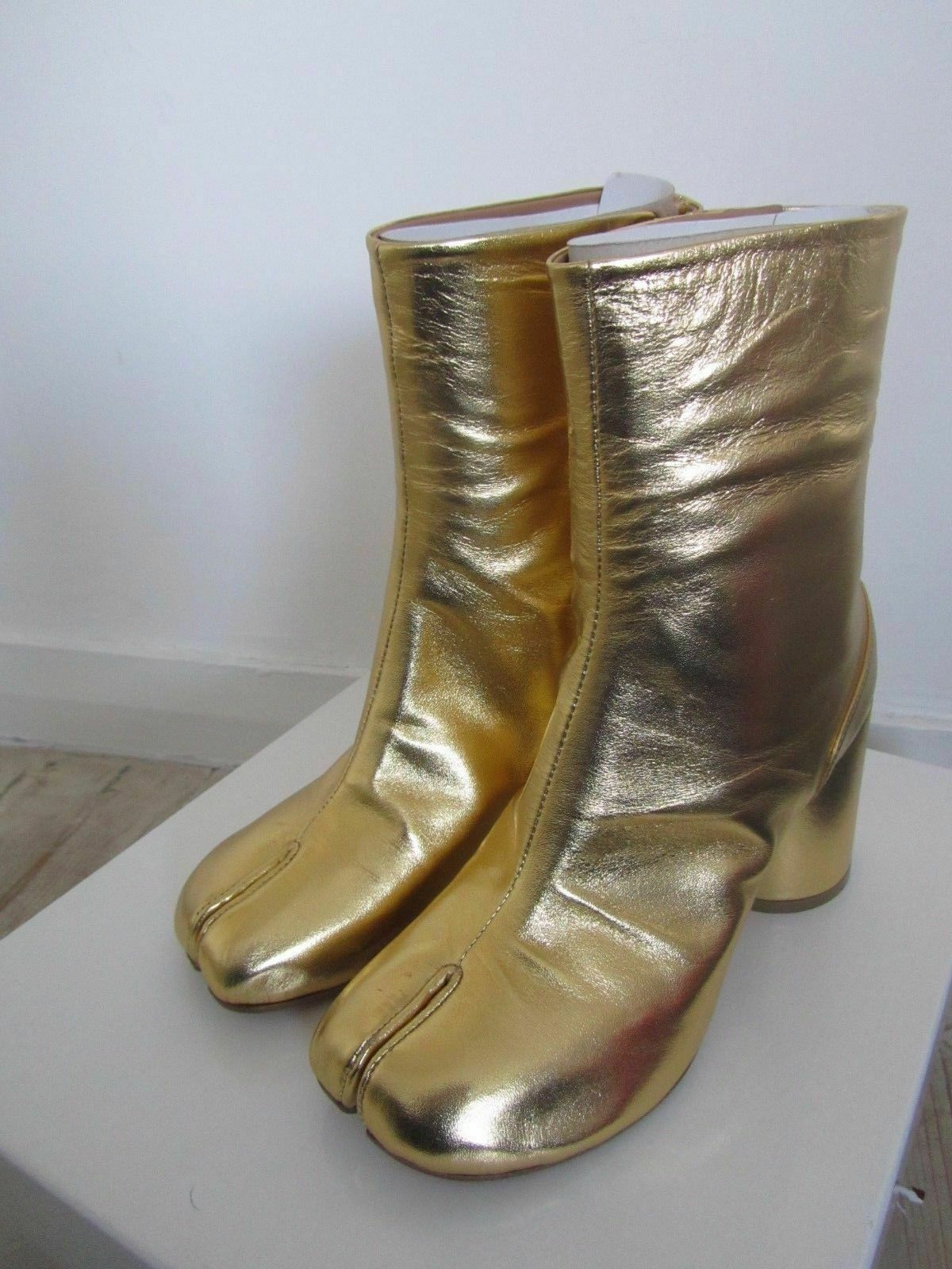 New Stiefel Maison Martin Margiela Gold Leather Tabi Toe Stiefel New - 35, Last Pair 829e0d