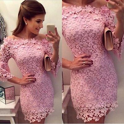 Ladies Lace Formal  3/4 Sleeve Wedding Bodycon Prom Bridesmaid Evening Dress