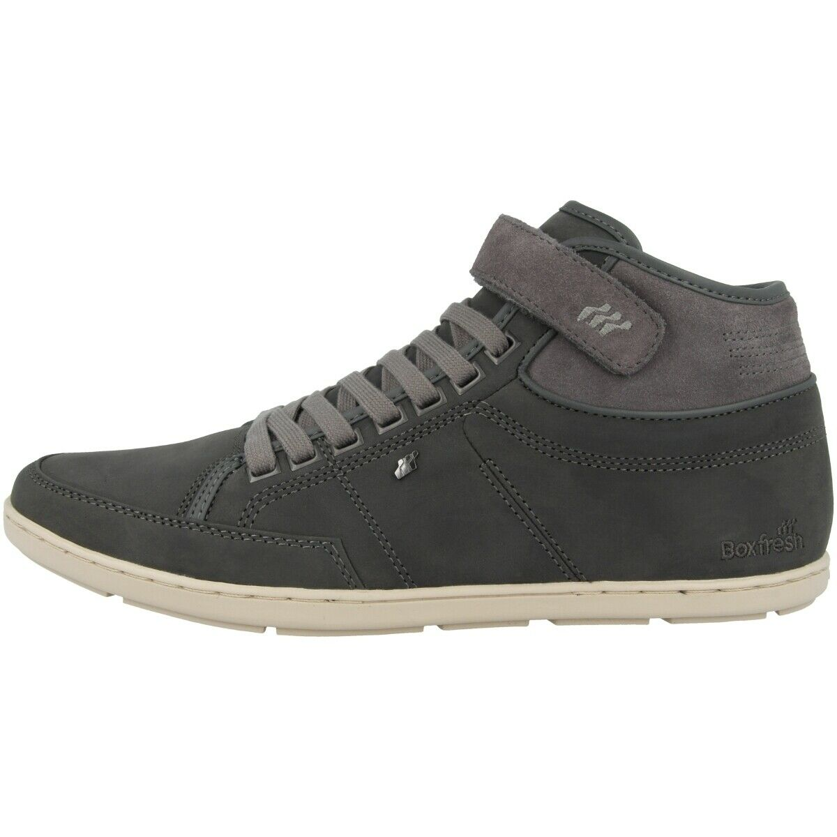 Boxfresh Swich Blok SH Leather shoes Mens Mid Cut Trainer Charcoal E15388