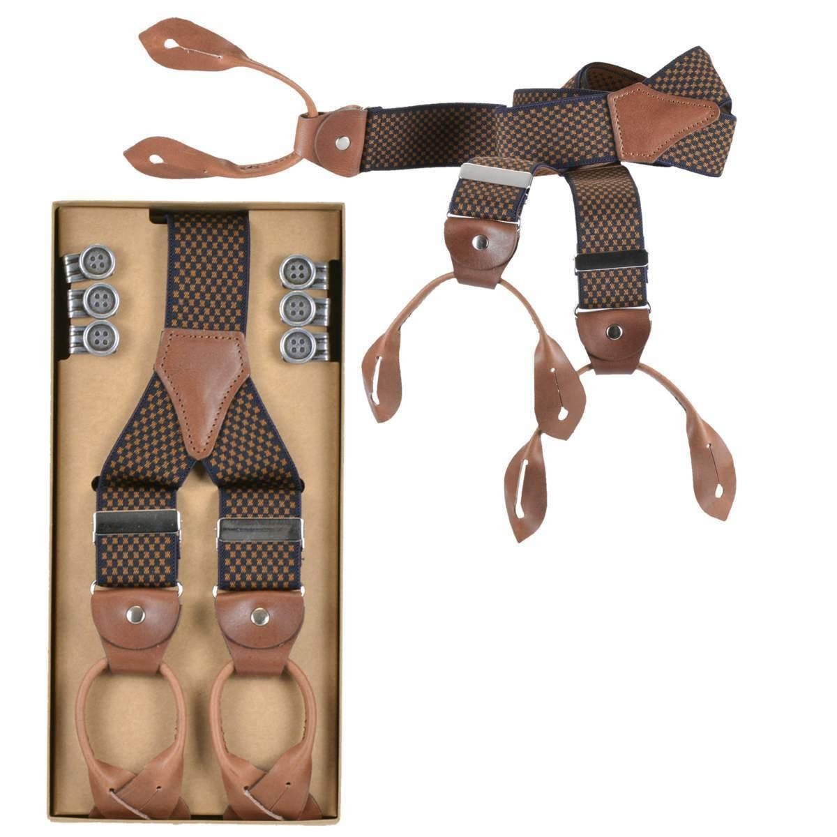 Lloyd Hosenträger Y Form Holländer 120cm 35mm Leder mit Knöpfen Suspenders