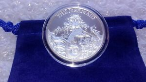 1-Ounce-Fine-Silver-999-MERMAID-Folklore-Round-with-Capsule-amp-Ocean-Blue-Pouch