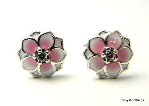328717b30 PANDORA Sterling Silver Magnolia Blooms Pink Enamel Stud Earrings 290739pcz  for sale online   eBay