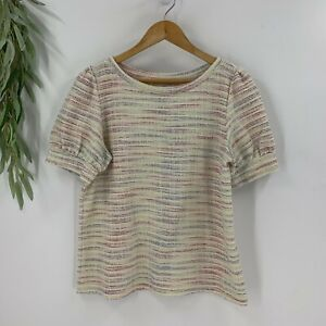 Ann Taylor Loft Womens Pullover Tweed Top Size M White Short Sleeve Knit Shirt