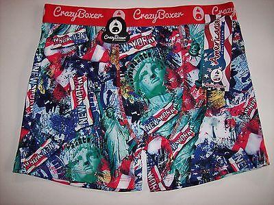 Crazy Boxer Underwear Mens Boxer Brief 1 Pr Americana NY Graphic Select Sz NWT