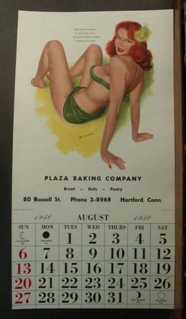 Moore August 1950 Esquire Calendar Redhead Green Bikini Will Get Herself A Man