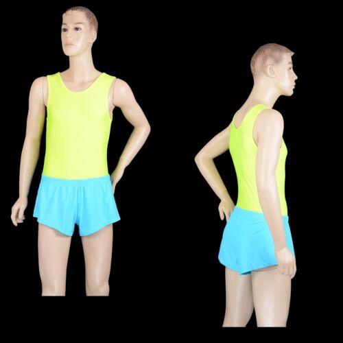 Mens Turquoise Blue Nylon Lycra Gymnastics Shorts Gym Sprinter Aussie Made