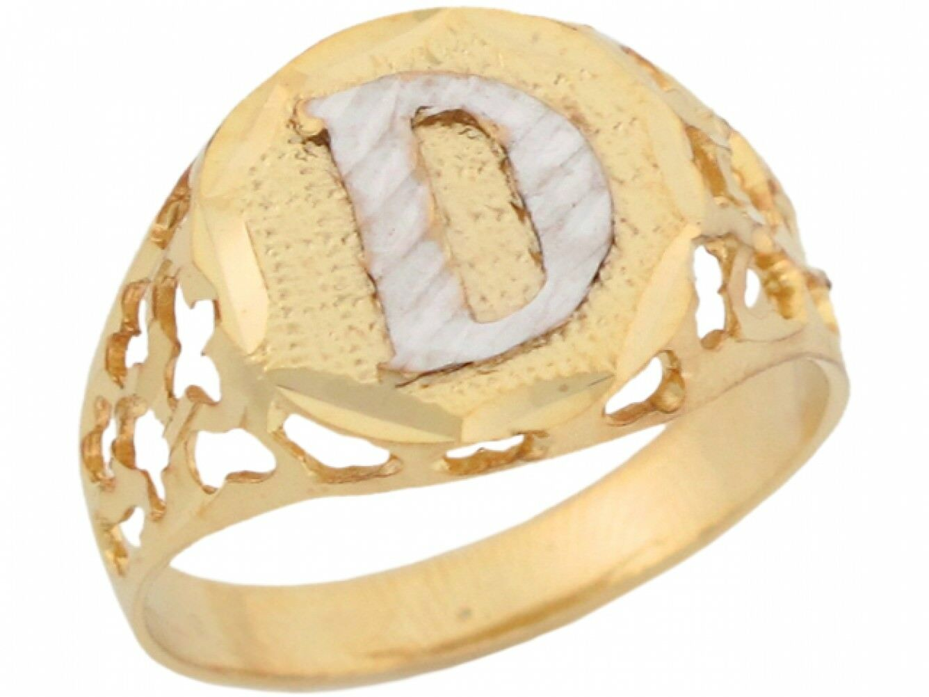 10k or 14k Two Tone gold Unique Filigree Letter D Stylish Ladies Initial Ring